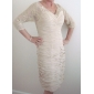 Sheath/ Column V-neck Knee-length Chiffon Lace Mother of the Bride Dress