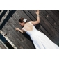Sheath/ Column Straps Sweep/ Brush Train Chiffon Wedding Dress