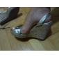 Leather Wedge Heel Sandals / Pumps Party / Evening Shoes With Rhinestone (More Colors)