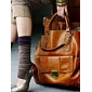 Trendy Woman's High Quality Brown Handbag With Brass Button