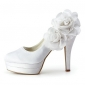 Satin Stiletto Heel Platform With Satin Flower Wedding Shoes (More Colors Available)