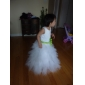 Ball Gown Jewel Tea-length Satin Tulle Flower Girl Dress