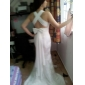 Trumpet/Mermaid V-neck  Court Train Lace And Chiffon Wedding Dress 