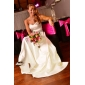 A-line Princess Strapless Floor-length Satin Wedding Dress inspired by Kate Middleton