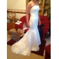 Trumpet/Mermaid StraplessSweep/Brush Train Tulle Satin Wedding Dress 