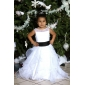 Ball Gown Scoop Floor-length Pearls Satin Organza Flower Girl Dress