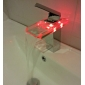 Single Handle Color Changing LED Waterfall Bathroom Sink Faucet (Chrome Finish)