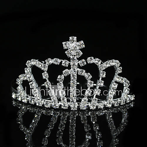 Tiara made of clear Cubic zircon, Alloy metal. Silver color only.