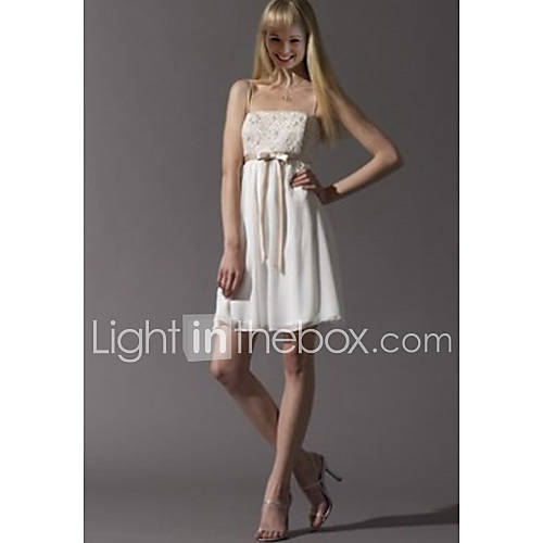 Empire Spaghetti Straps Short Mini Linen Chiffon Wedding Dresses