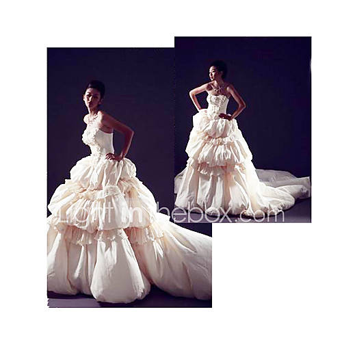 Ball Gown Strapless Royal Length Train Taffeta Wedding Dresses for