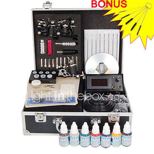 Tattoo Kit Set includes: 3 x Professional stainless steel machines (gun) for