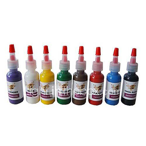 8 Bottles of Color Tattoo Ink Set - US$ 44.99