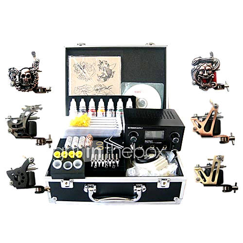 Tattoo Kit Pro 6 Guns Power Tip Needles Skin Ink Supply - US$ 168.41