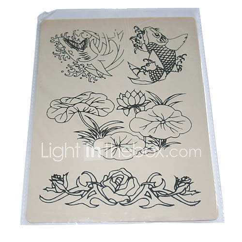 Tattoo Practice Skin with Flower and Fish Outlines(0359-4.20-3) - US$ 4.99