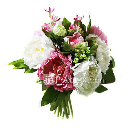 Elegant Silk Peony With Chiffon Decoration Round Wedding Bouquet