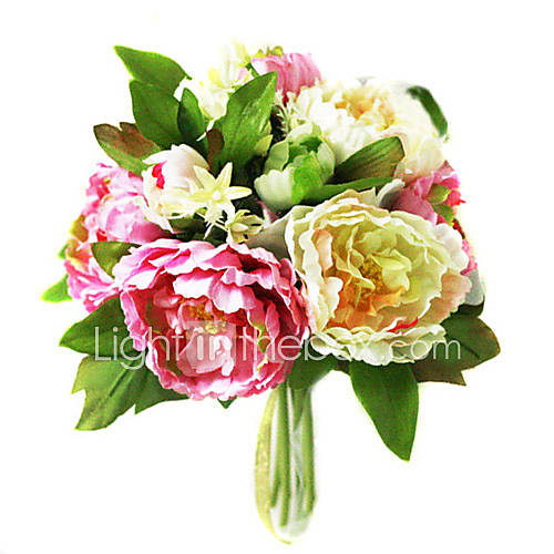 Elegant Silk Peony With Chiffon Decoration Round Wedding Bouquet