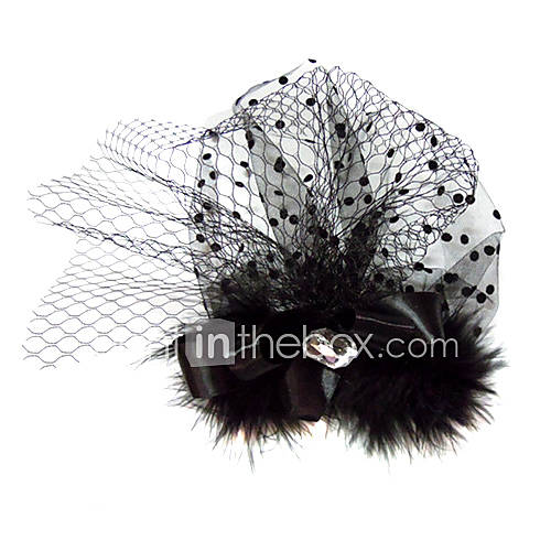 Gorgeous Satin Tulle With Rhinestones Feather Wedding Bridal Party Headpiece
