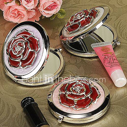 Red Rose On Chrome Mirror Compact Wedding Favor Item ID 00194452