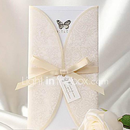 Elegant Ivory Butterfly Print Trifold Wedding Invitation Set