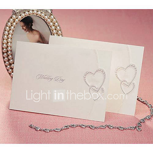 Simple Folded Wedding Invitation With Interlocking Hearts Set of 50 US