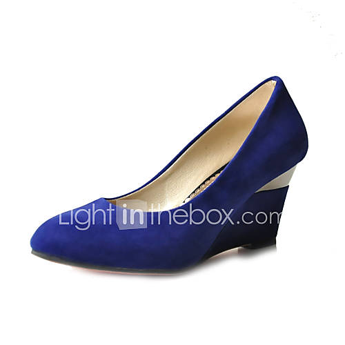 Suede Upper Wedge Heel Closed Toe Party Evening Shoes More Colors Available