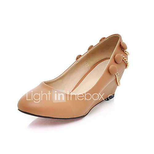 Leatherette Closed Toe Wedges With Gold Chains More Colors US 2999
