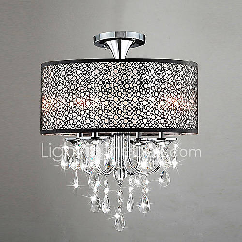 Modern Drum Ceiling Lights : W modern drum ceiling light with lights and crystal
