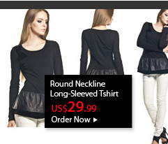 Round Neckline Long-Sleeved Tshirt