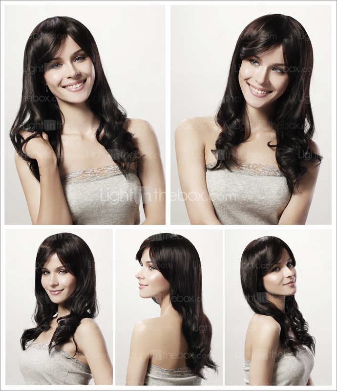 Capless Long Curly Black 100% Human Hair Wig Side Bang