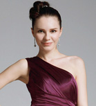Chiffon Sheath/Column One Shoulder Sweep/Brush Train Evening Dress inspired by Debra Messing at Emmy Award
