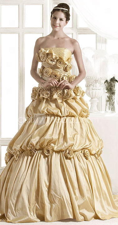 A-line Strapless Court Train Taffeta Tulle Wedding Dress