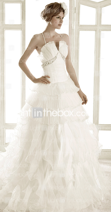 A-line Spaghetti Straps Chapel Train Organza Wedding Dress 