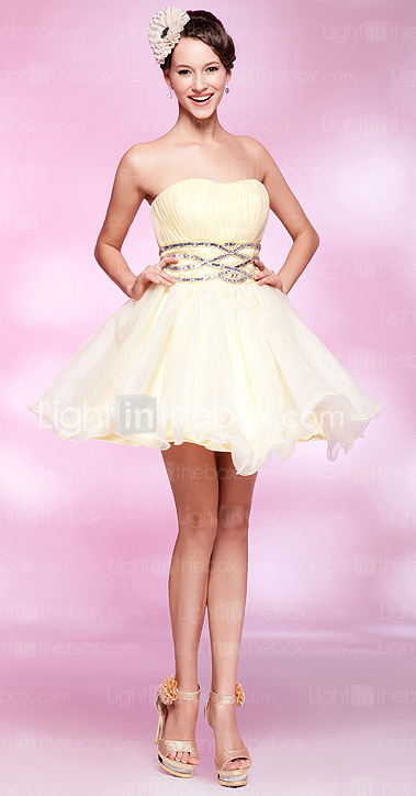 A-line Sweetheart Short/ Mini Tulle Cocktail Dress