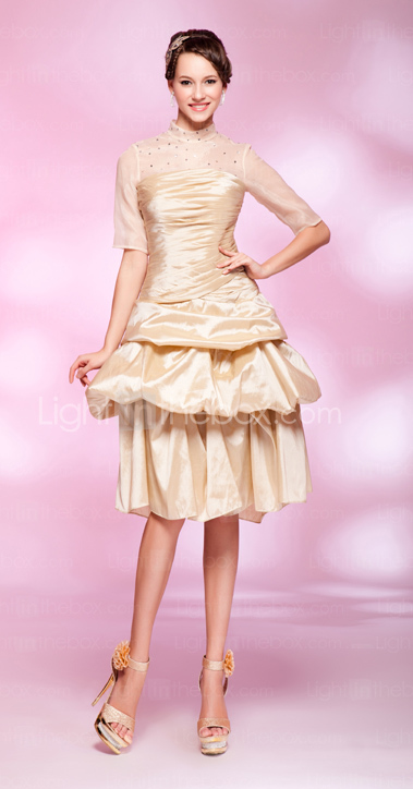 A-line High Neck Knee-length Taffeta Cocktail Dress
