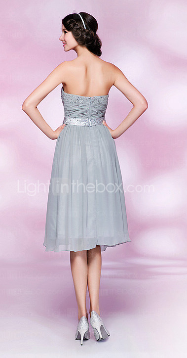 A-line Strapless Knee-length Chiffon Cocktail Dress With Beading