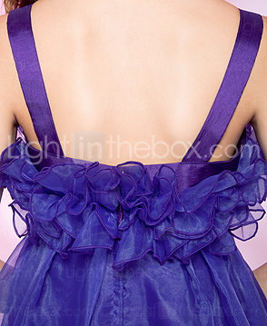 A-line Straps Asymmetrical Organza Cocktail Dress
