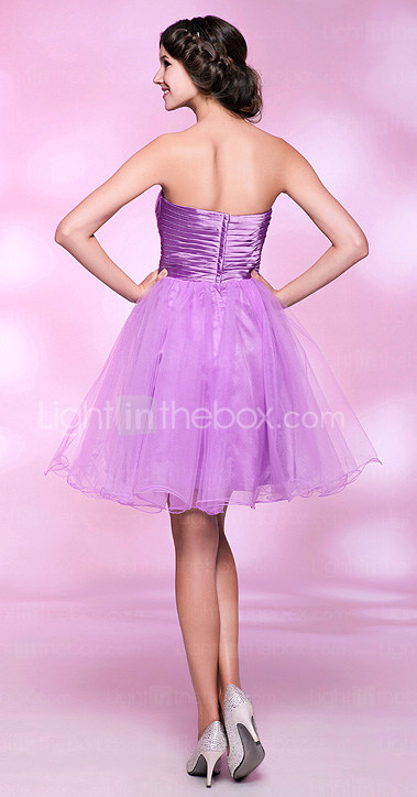 A-line Strapless Knee-length Tulle And Stretch Satin Cocktail Dress