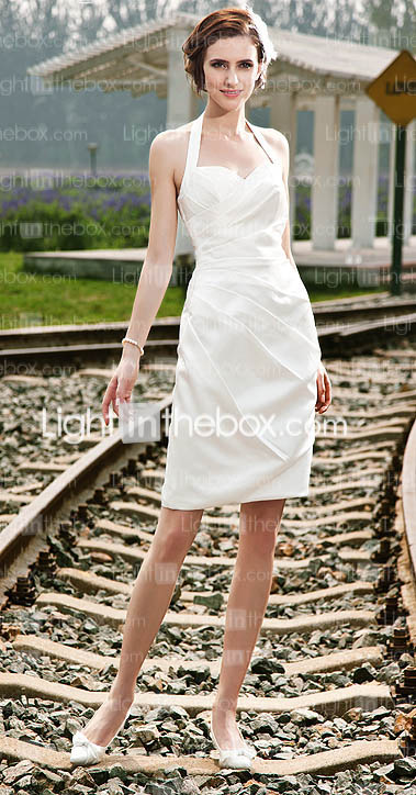 Sheath/ Column Halter Short/ Mini Satin Wedding Dress