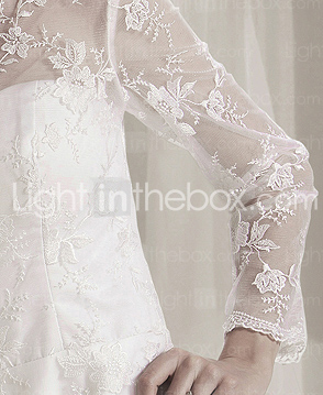 A-line Jewel Court Train Lace Satin Wedding Dress