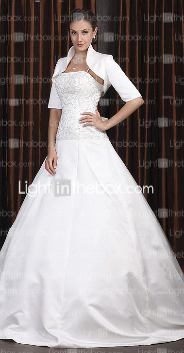 A-line Spaghetti Straps Chapel Train Satin Wedding Dress with A Wrap