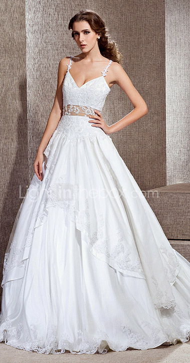 A-line V-neck Cathedral Train Lace Taffeta Wedding Dress