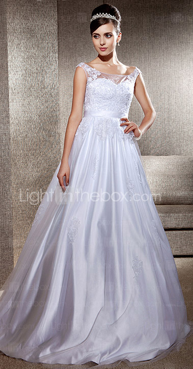 A-line Scoop Sweep/Brush Train Lace Tulle Wedding Dress