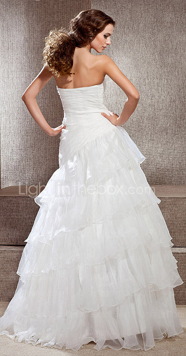 A-line Strapless Floor-length Organza Wedding Dress