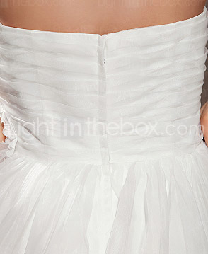 A-line Sweetheart Cathedral Train Organza Wedding Dress