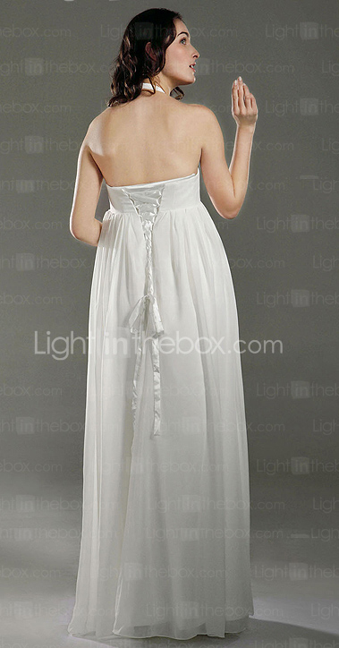 Empire Halter Floor-length Chiffon Satin Maternity Wedding Dress