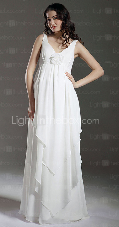 Sheath/ Column Empire Straps Floor-length Chiffon Over Satin Maternity Wedding Dress