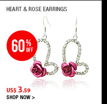 Heart &amp; Rose Earrings