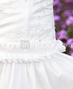 A-line Halter Short/Mini Taffeta Chiffon Lace Wedding Dress
