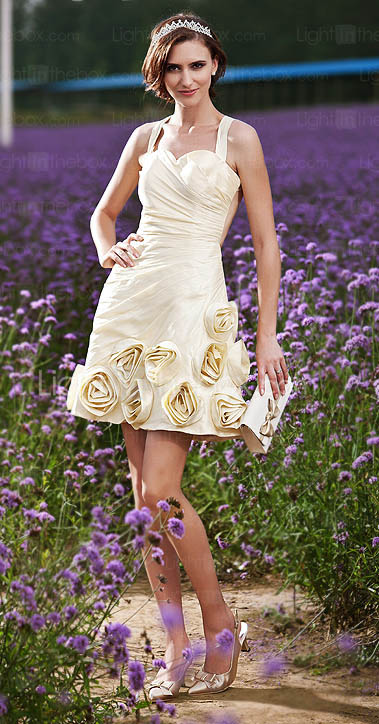 A-line Straps Short/Mini Taffeta Wedding Dress