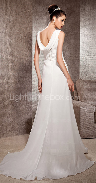 A-line Scoop Court Train Chiffon Wedding Dress